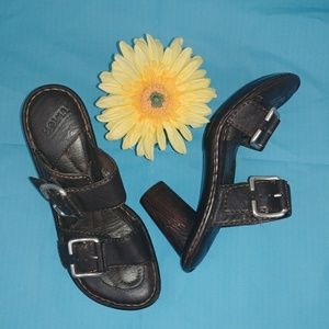 BORN Brown Leather, Buckle, Backless Sandals S7/38
